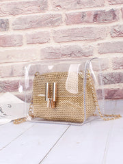 Clear Chain Bag With Inner Woven Pouch