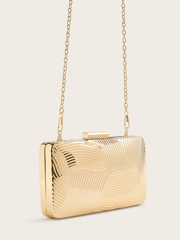 Metallic Textured Chain Evening Bag