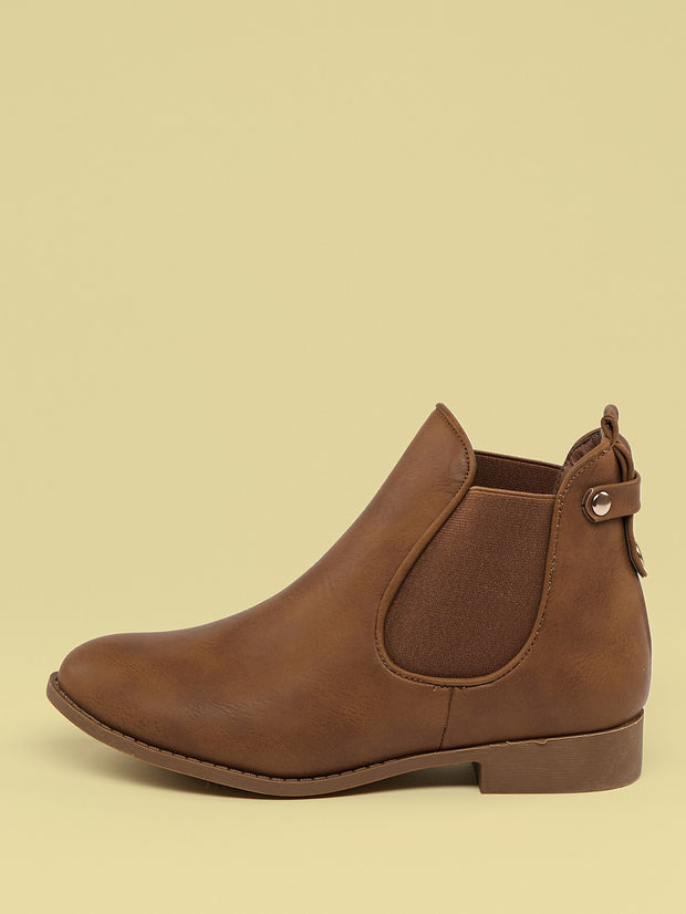 Round Toe Side Goring Ankle Booties