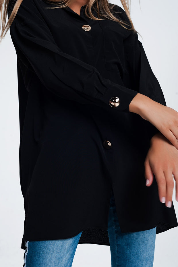 Oversized  Shirt With Vintage Buttons in Black