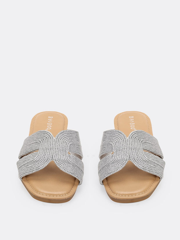 Metallic Cut Out Flat Slide Sandals