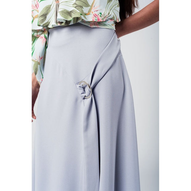 Grey midi skirt with belt