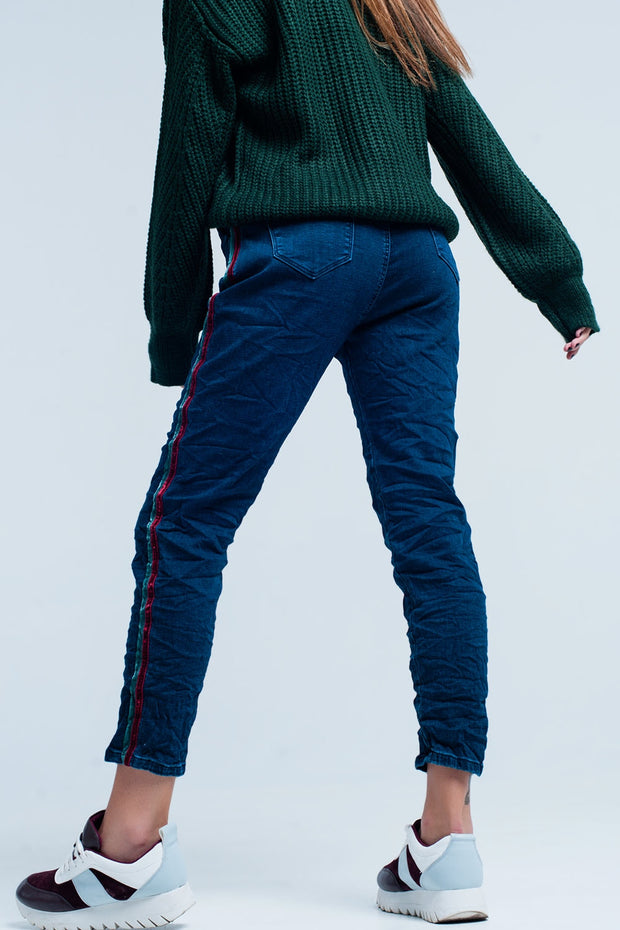 Blue Baggy  multi-colored side stripe Jeans