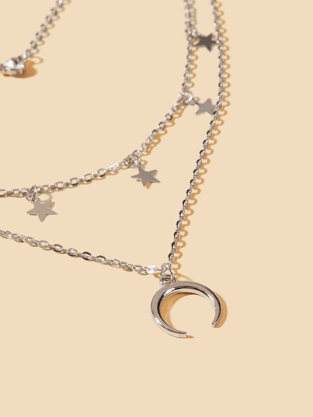 Moon & Star Charm Layered Chain Necklace 1pc