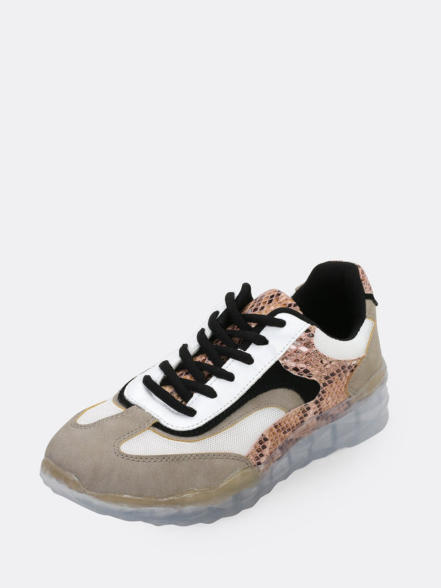 Snakeskin Two Toned Trainer Sneakers
