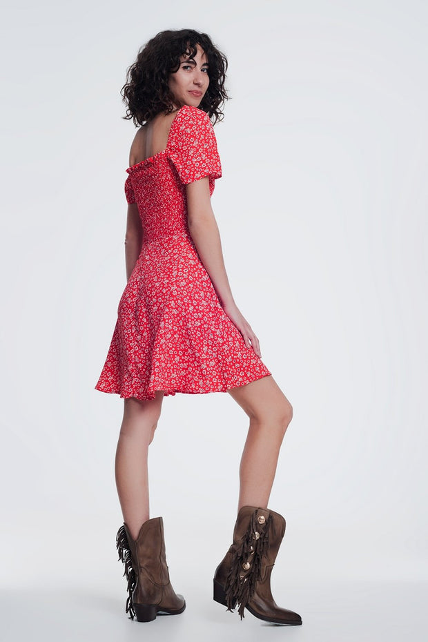 Red Floral Gathered Front Dress