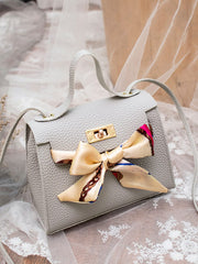 Pebble Detail Bow Tie Satchel Bag