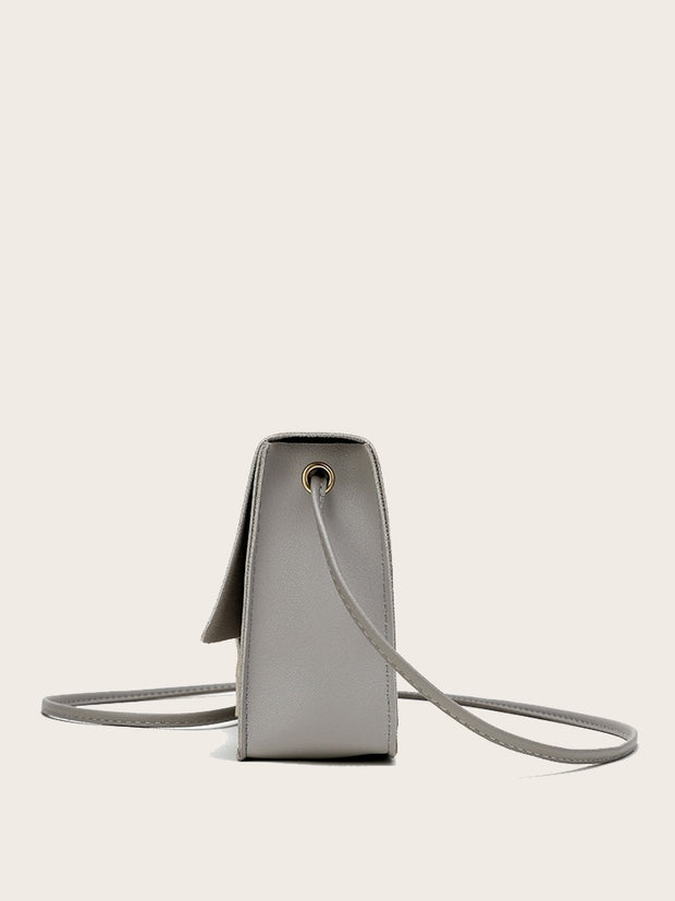 Metallic Detail Flap Crossbody Bag