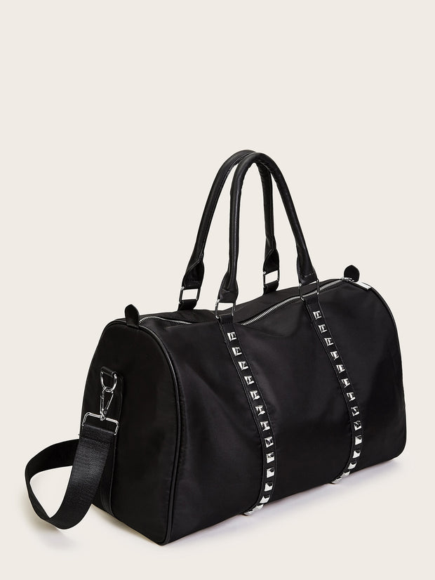 Studded Decor Duffle Bag