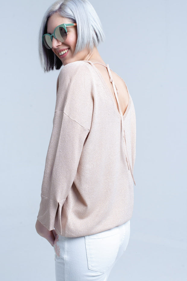 Buy Women's Pink Knit Sweater with Gold Lurex Detail