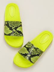 Buy women's Neon Snake Detail Footbed Sole Slide Sandals available at very affordable prices. Enjoy free shipping and returns on selected orders. Place yours now.