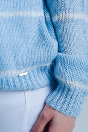 Blue Striped Crew Neck Sweater
