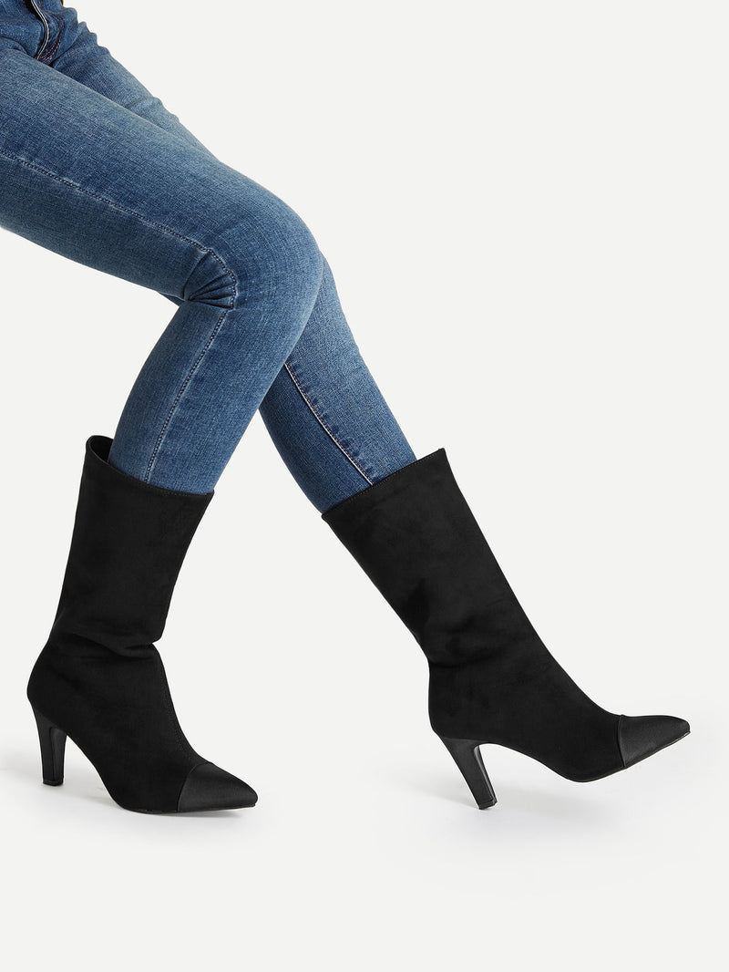 Pointed Toe Mid-Calf Boots