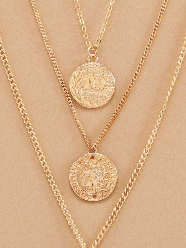 Multi Layered Chain Necklace With Coin Pendants