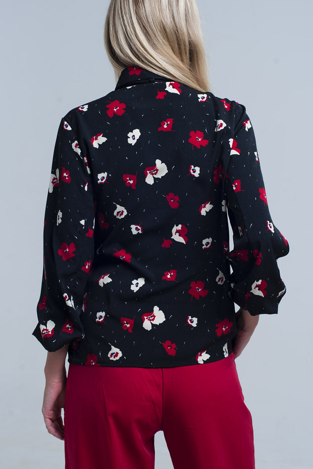Buy Black Shirt with Red and White Flowers