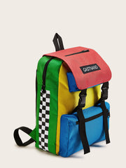 Color-block Release Buckle Backpack
