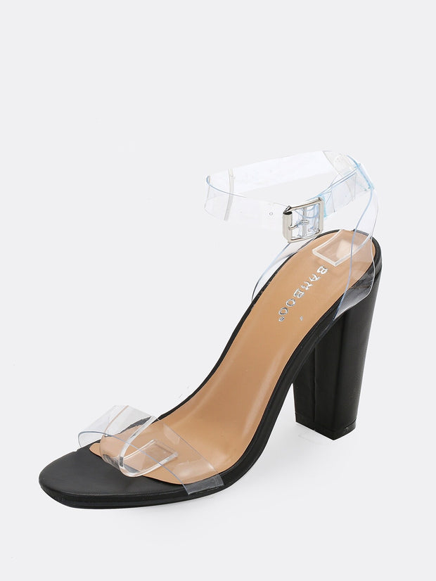 Buy women's Clear Band Buckled Ankle Strap Chunky Heel Sandals available at very affordable prices. Enjoy free shipping and free returns on selected orders. Place your order now.