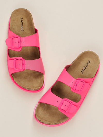 Buy women's Neon Double Buckled Cork Sole Slide Sandals available at very affordable prices. Free shipping and returns on selected orders. Place yours now.