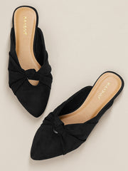 Bow Accent Pointy Toe Open Back Flats