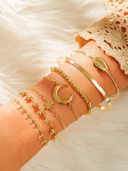 Shell & Moon Decor Chain Bracelet 7pcs
