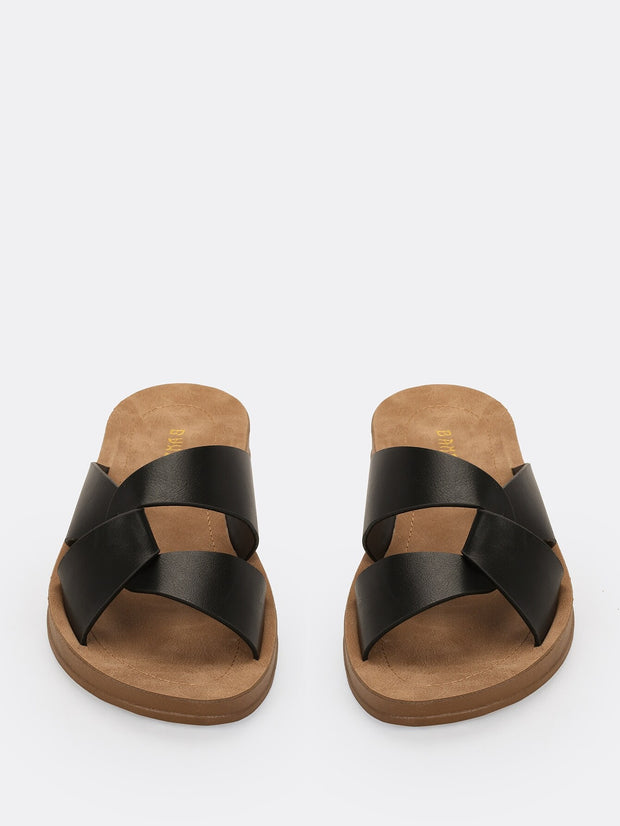 Dual Wrap Cut Out Low Wedge Sandals