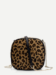 Leopard Print Chain Crossbody Bag