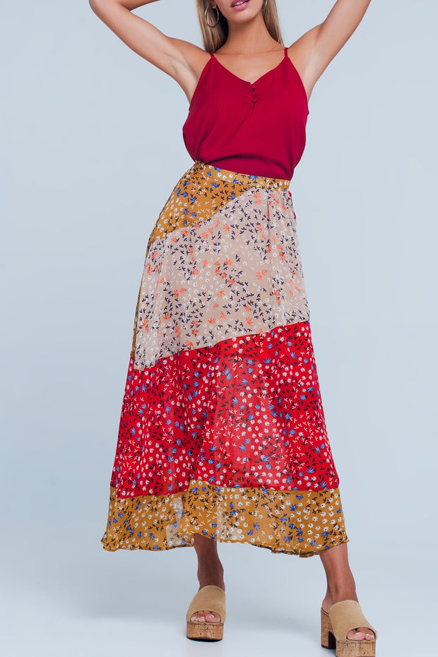 Red floral meadow bias cut maxi skirt