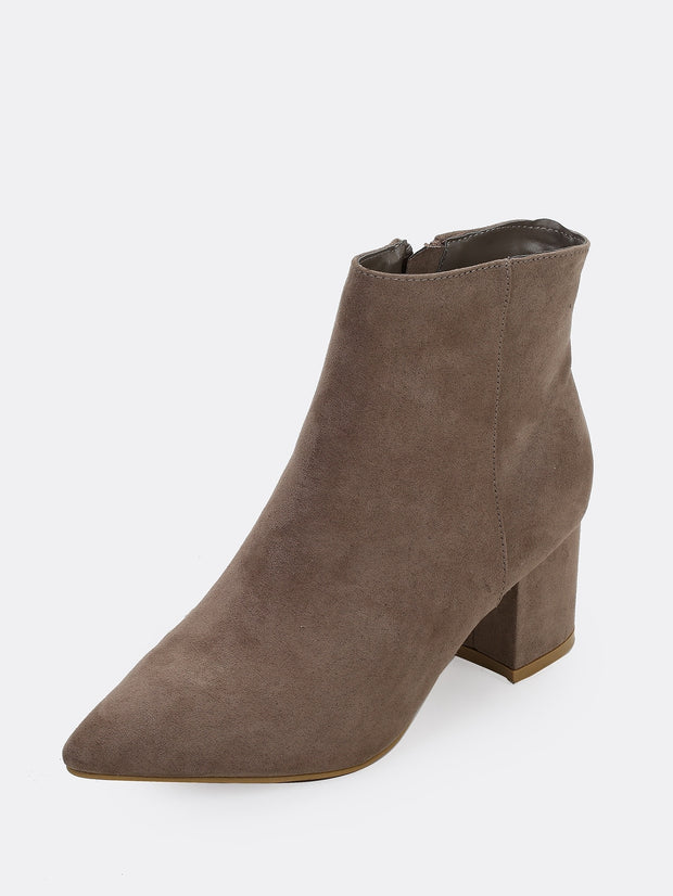 Pointy Toe Chunky Heel Booties