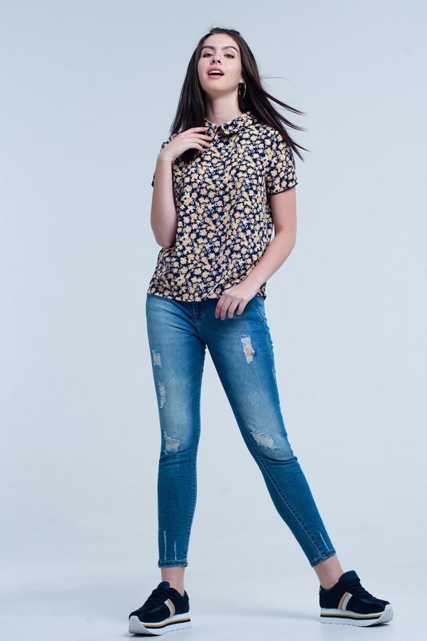 Buy Women's Shirt with Yellow Flowers Print