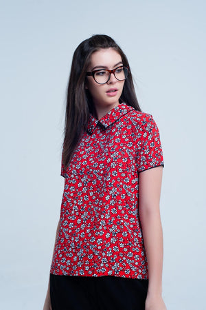 Buy Women's Red Shirt with White Flowers Print