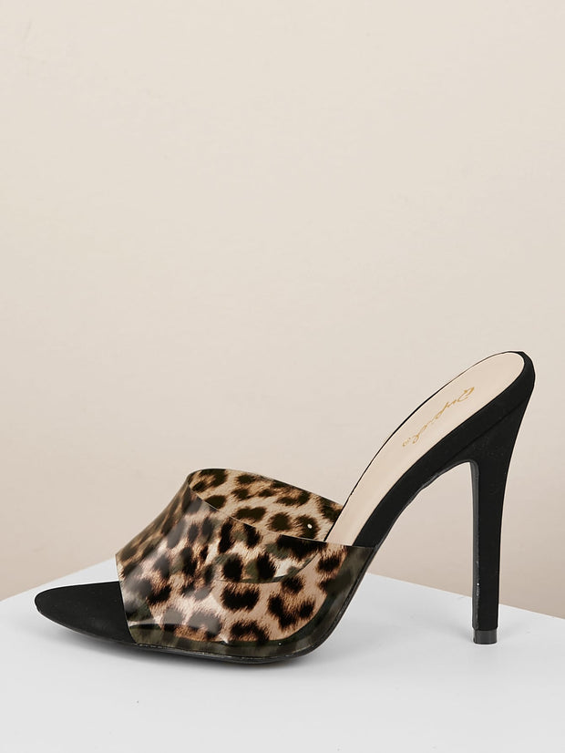 Buy women's Open Toe Leopard PVC Band Stiletto Heel Mules available at very affordable prices. Enjoy free shipping and returns on selected ordes. Place yours now.