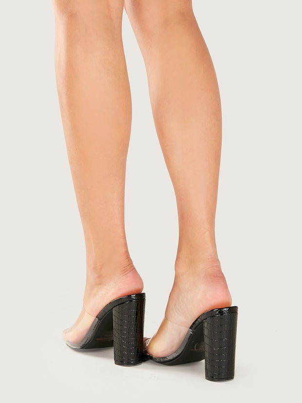 Open Toe Clear Band Crocodile Mules