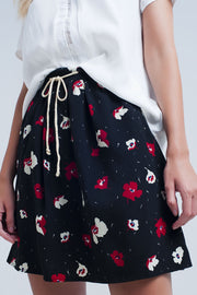 Women's Black Mini Skirt with Floral Pattern