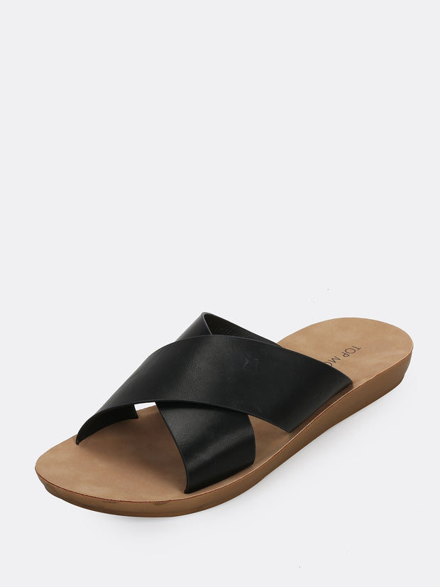 Open Toe Cross Band Slide Sandals