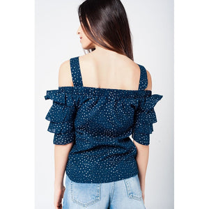 Navy top with printed stars