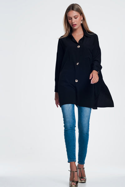 Buy women's Lightweight fabric oversized long sleeve shirt with vintage button detail in black available at very affordable prices. Enjoy free shipping and free returns. Place yours now.