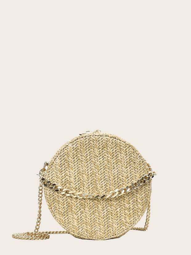 Braided Detail Round Shaped Chain Bag