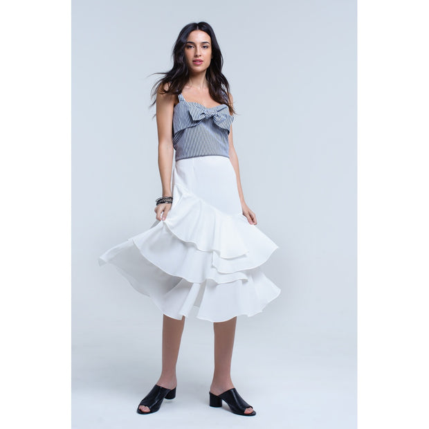 White midi skirt with ruffle detail