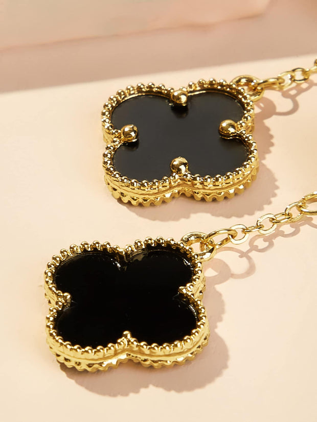 Double Clover Design Drop Earrings 1pair