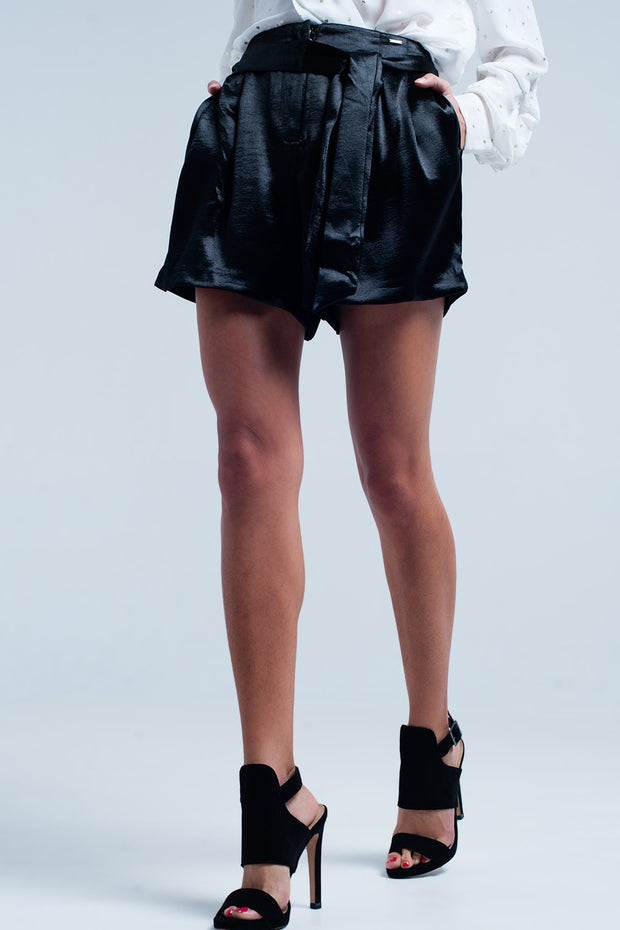 Black Satin Shorts with Waist Tie