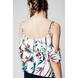 Top with cold shoulder and blue leaves print