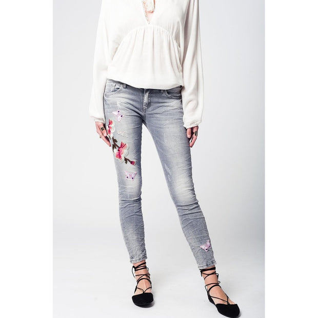Gray slim denim embroidered jeans