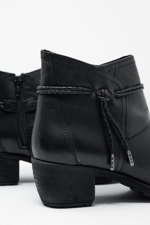 Black Blocked Mid Heeled Ankle Boots