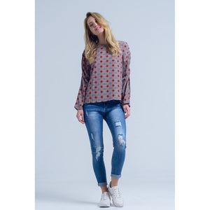 Bordeaux top with check print