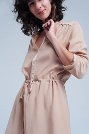 Beige tie waist shirt mini dress