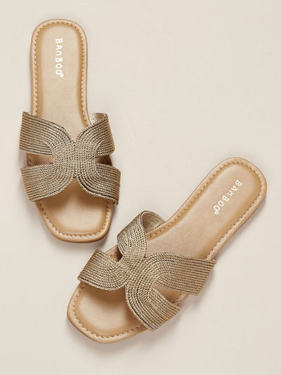 Buy women's Metallic Woven Dual Cut Out Flat Slide Sandals available at very affordable prices. Enjoy free shipping and free returns on selected orders. Place yours now.