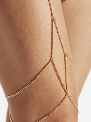 Rhinestone Detail Layered Thigh Chain
