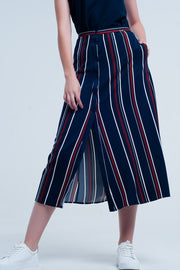 Women's Navy Blue Striped Midi Skirt