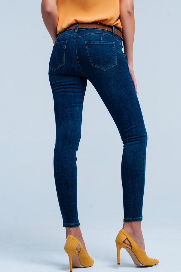 Skinny Dark blue push-up jeans