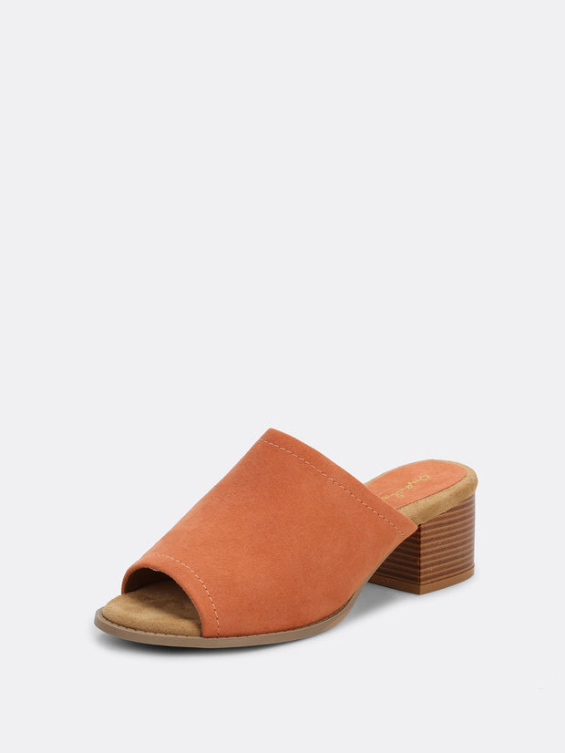 Peep Toe Slip On Wide Band Stacked Heel Mules